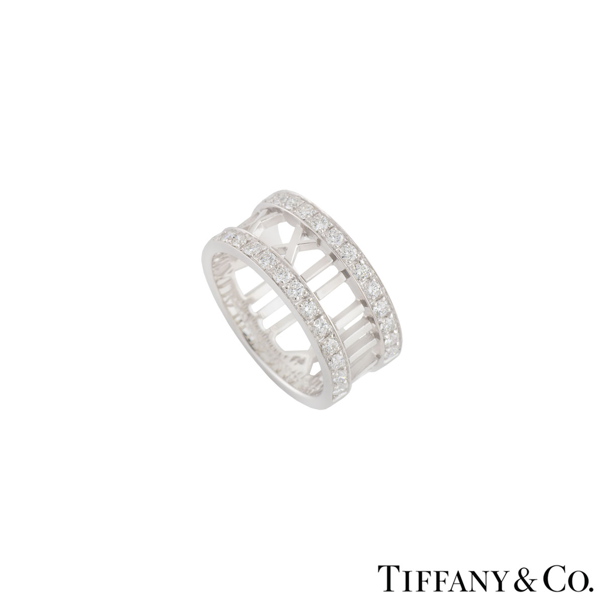 Tiffany & Co. White Gold Diamond Atlas Ring 0.75ct G+/VS+